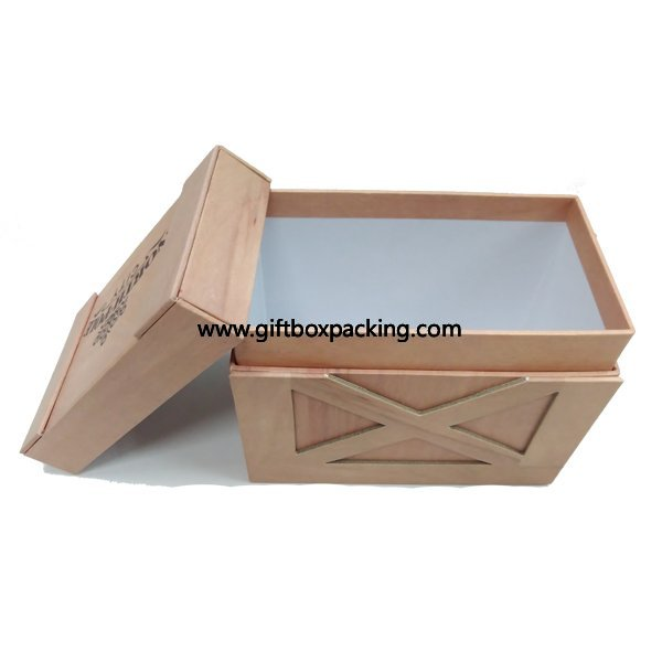 High quality replica wooden box cardboard material gift packaging box for mobile accessories