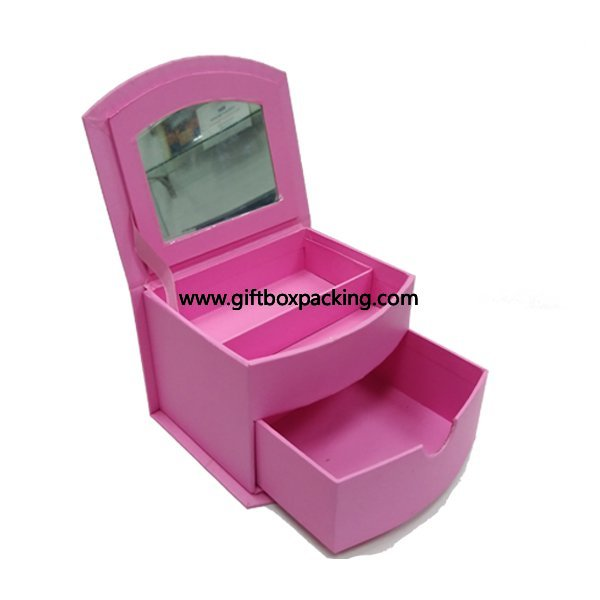 Pink color custom design cardboard drawer gift box with mirror for cosmetic