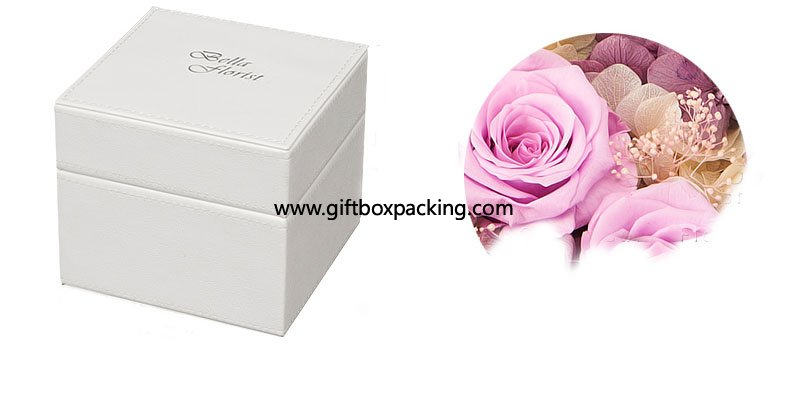 High-grade white PU leather gift box packing box
